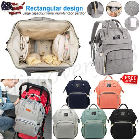 Baby Diaper Bag Multi-Function Travel Backpack Baby Nappy Changing Mommy Bags Beige Gray - Mummy Accessories
