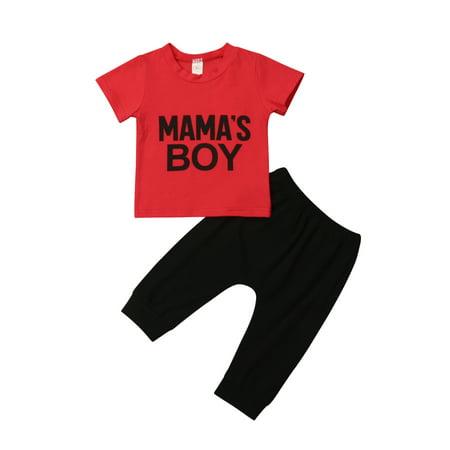 - Baby Boys Short Sleeve Pants Set, Mama's BOY Letter Print Red T-Shirt + Black Sweatpants 2 Pieces Clothing Set