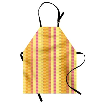 Floral Apron Flowers Stars Stripes Mix Patchwork Style Motif Kids Baby Playroom Design, Unisex Kitchen Bib Apron with Adjustable Neck for Cooking Baking Gardening, Yellow Marigold Pink, by Ambesonne