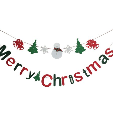 2PCS Christmas Banner, Justdolife Banner Letter Merry Christmas Banner Party Hanging Ornament Home Decoration