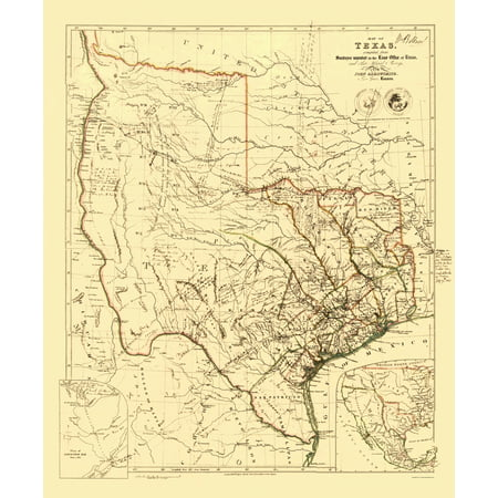 Old State Map   Republic Of Texas   Arrowsmith 1841   23 X 27 78