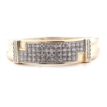 Midwest Jewellery 10K Gold Mens Wedding Band Ring Pave Set 6mm wide 1/5ctw Diamond (12) Wide Diamond Band