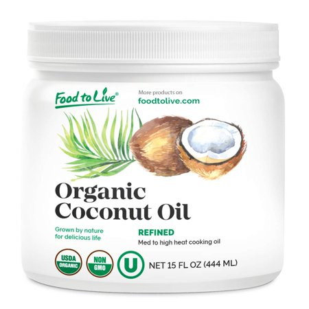 Organic Refined Coconut Oil, 15 fl oz — Non-GMO, Kosher, Vegan, Bulk, Great for Hair, Skin and Cooking – by Food to