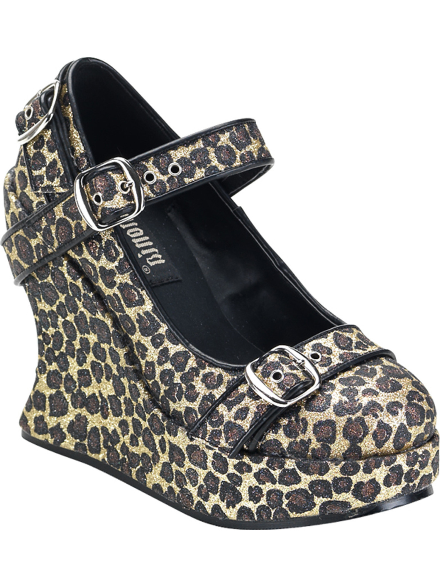5 Inch Sexy Platform Wedge Shoe Glitter Shoes Cheetah Animal Print Shoes