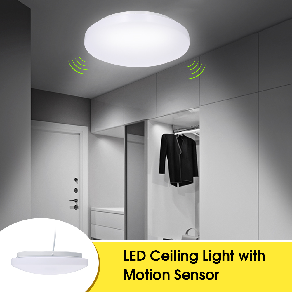 Led Ceiling Light With Motion Sensor 12w 1000lumen With Daylight Sensor 27cm Diameter Warm White Light For Basement Garage Closet Hallways Walmart Canada