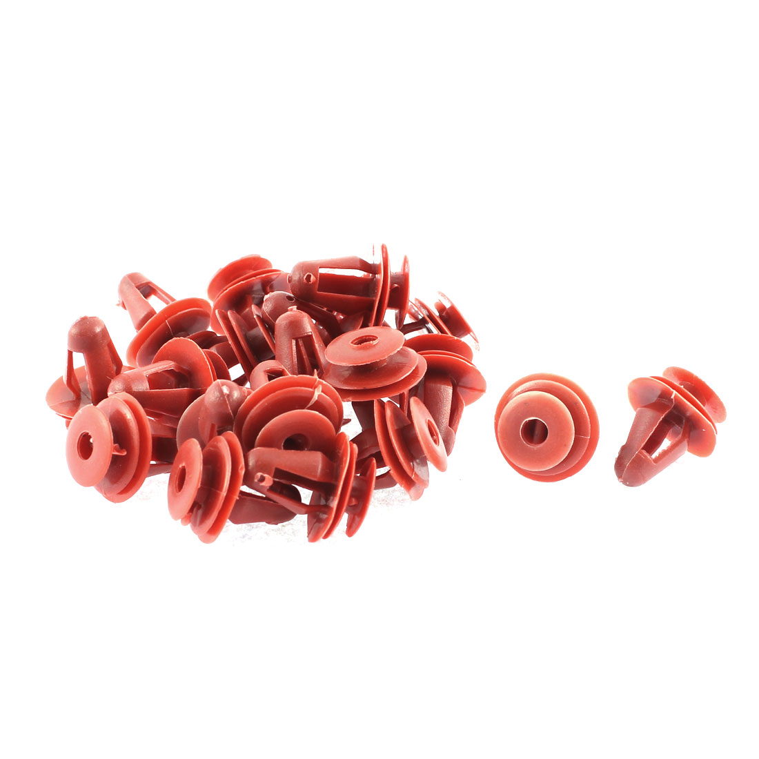 Unique Bargains 20 Pcs Red Plastic Push-Type Moulding Trim Panel Door Fastener Clip