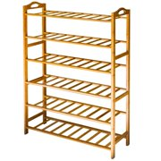 Bamboo Shoe Rack, ANKO 100% Natural Bamboo Thickened 6-Tier Mesh Utility Entryway Shoe Shelf Storage Organizer Suitable for Entryway, Closet, Living Room, Bedroom. (1 PACK)