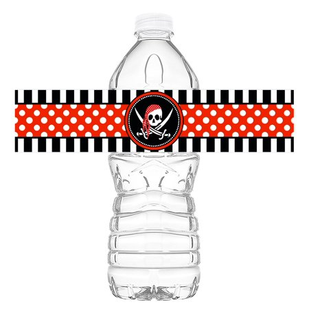 Pirate Bottle Wraps - 20 Pirate Water Bottle Labels - Pirate Decorations - Made in the USA](Pirates Decoration)