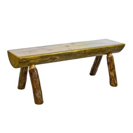 Montana Woodworks MWGCHLBWB4EXT 4 ft. Glacier Country Half Log Bench with Back & Arms, Exterior Stain Arms Outdoor Benches