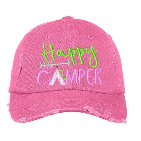 Distressed Baseball Cap Women Disressed Hats for Men Embroidered Happy -