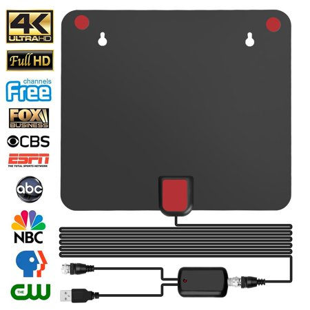 TV Antenna - HDTV Antenna Support 4K 1080P, New Version Up to 130 Miles Range Digital Antenna for HDTV, VHF UHF Freeview Channels Antenna with Amplifier Signal Booster, 16.5 Ft Longer Coaxial