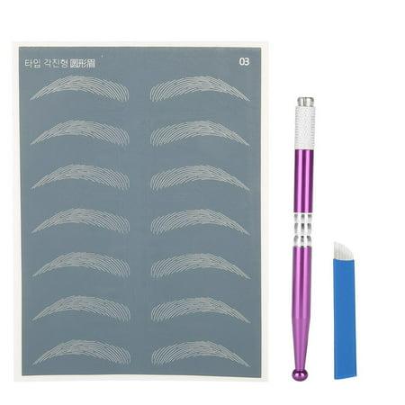 Zerone Tattoo Eyebrow Tool Kit, Semi-Permanent Eyebrow Manual Microblading Tattoo Makeup Tool Set Kit Pen Blade Needle Pin (5 Rs Tattoo Needles)