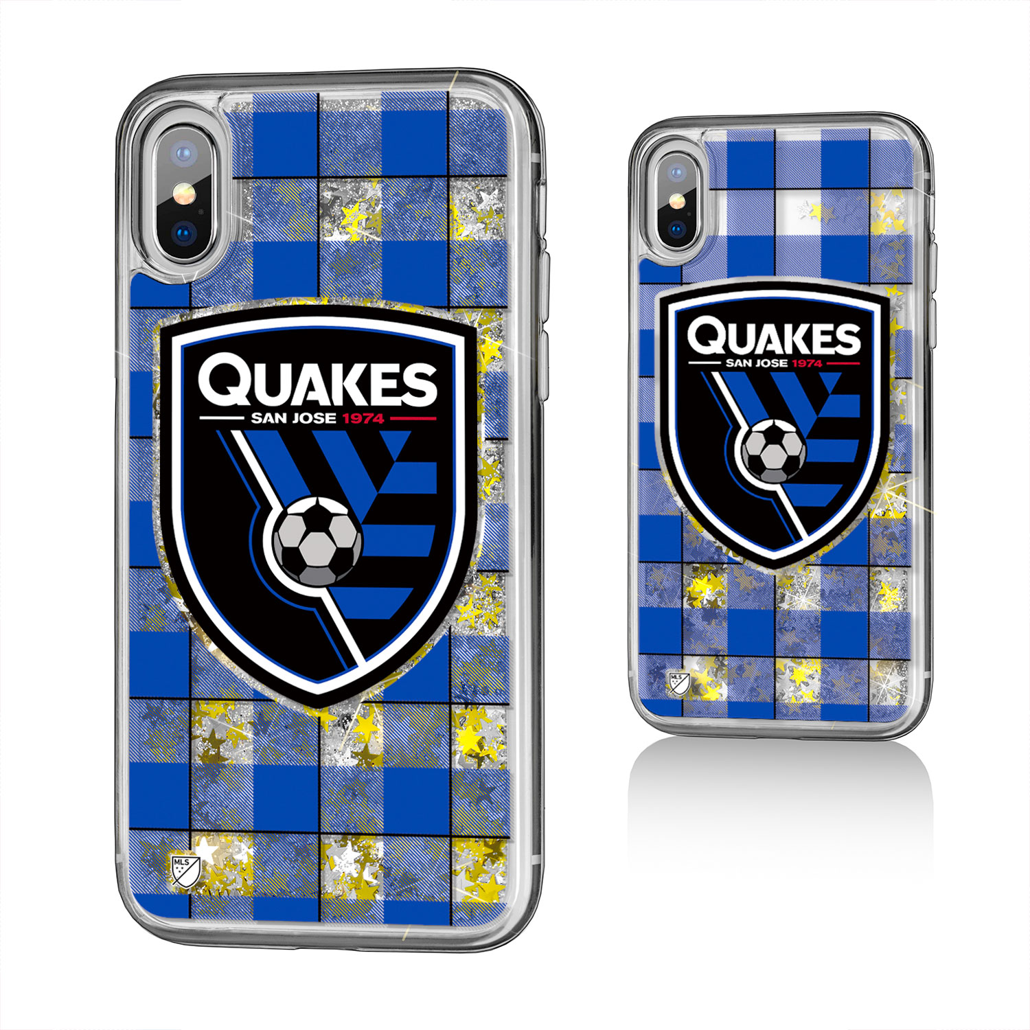 San Jose Earthquakes NEVER SAY DIE Plaid Glitter Case for iPhone X