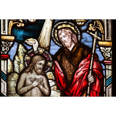 LAMINATED POSTER Sacrament Church Window Glass Window Baptism Poster Print 24 x 36