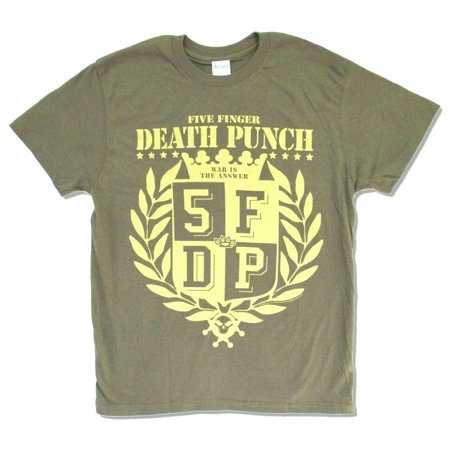 Five Finger Death Punch War Is The Answer Olive Green T