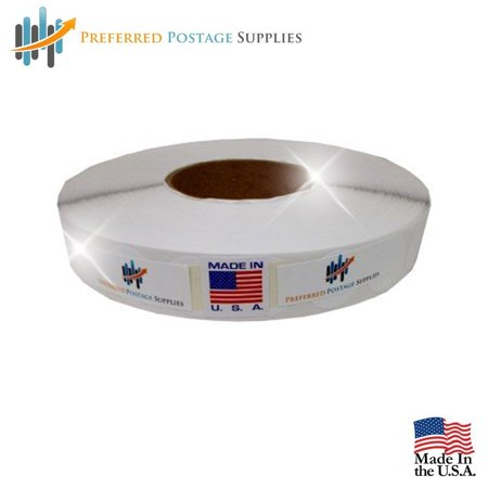 """White 1"""" Wafer Tab Seals (No Perf) 5000 tabs per roll (1 Roll Per Box) USPS Approved!"""