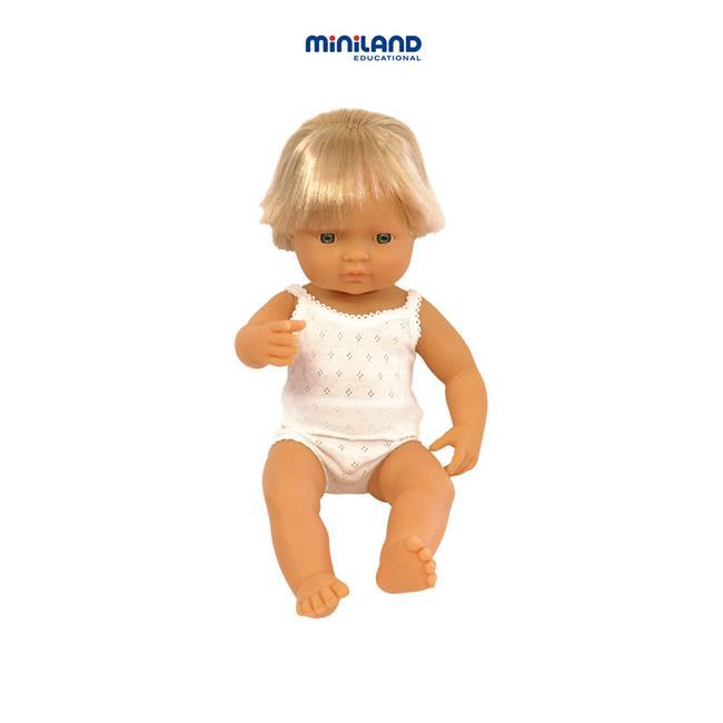 Miniland Educational 31151 Baby doll eruopean boy- 40 cm- 15 . 75 inchCase