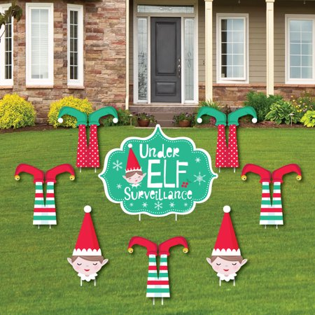 Elf Squad - Yard Sign and Outdoor Lawn Decorations - Kids Elf Christmas and Birthday Party Yard Signs - Set of 8