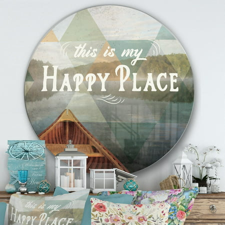 DESIGN ART Designart 'Lake House Happy Quote' Farmhouse Metal Circle Wall Art](Happy Halloween Quotes For Him)