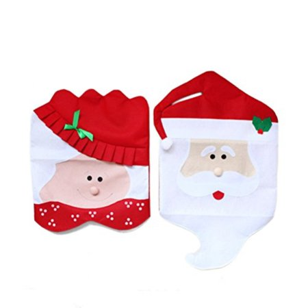 Marvelous Christmas Chair Covers Oulii Mr Mrs Santa Claus Chair Christmas Party Decoration 2Pcs Alphanode Cool Chair Designs And Ideas Alphanodeonline