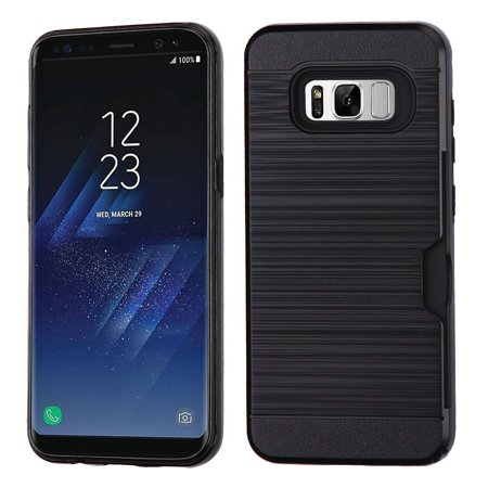 Samsung Galaxy S8+ Case, Samsung Galaxy S8 Plus Case, by Insten Brushed Hybrid Card Wallet Hard PC/TPU Dual Layer Cover Case For Samsung Galaxy S8+ S8 Plus