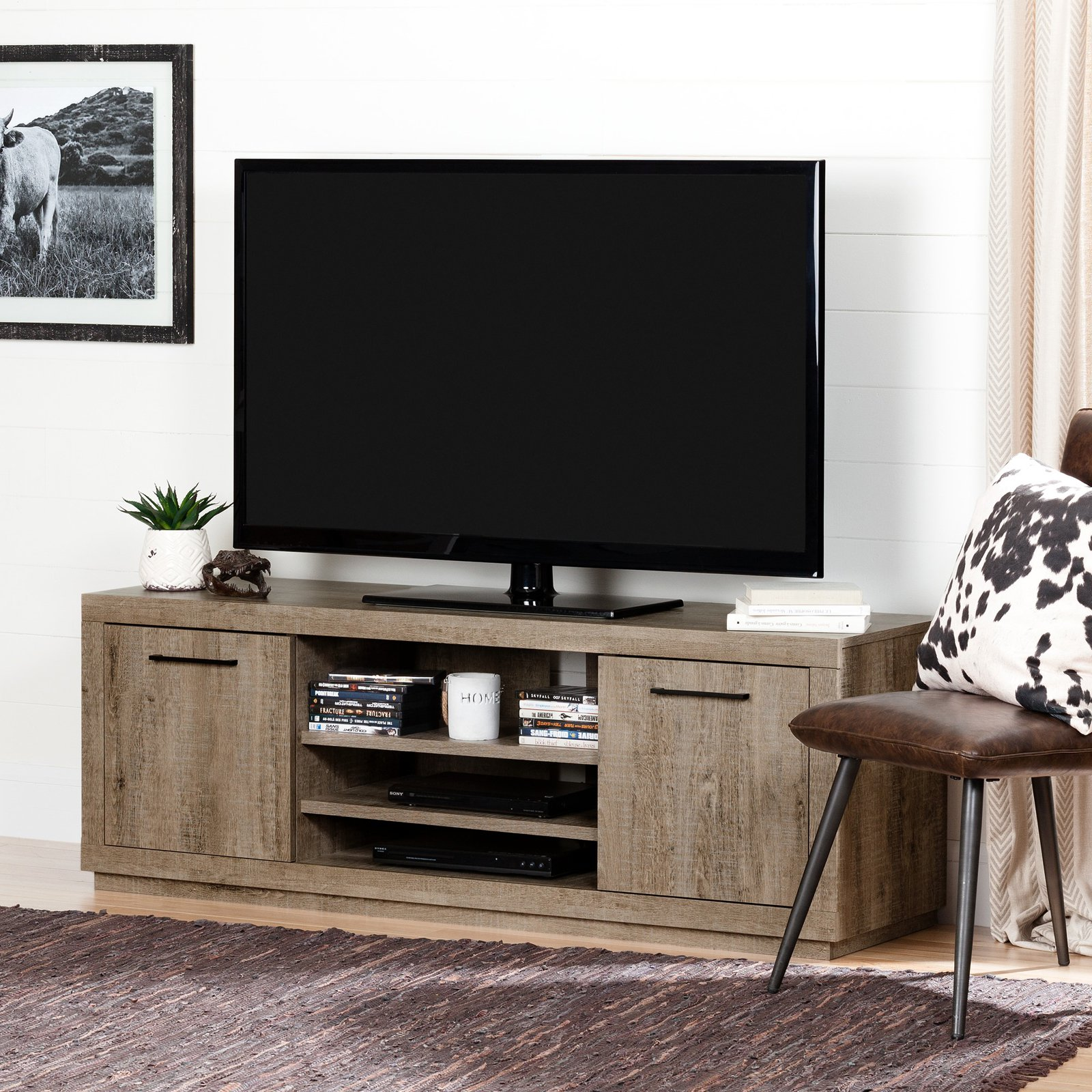 """South Shore Kanji TV Stand for TVs up to 60"""", Weathered Oak"""