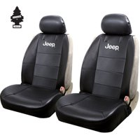 New Pair of Jeep Logo Universal Sideless Car SUV Seat Cover w/ HeadRest Cover and Air Freshener