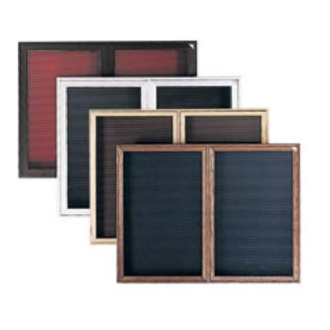 Ghent PWC13630B-BG 36 in. x 30 in. 1-Door Wood Frame Cherry Finish Enclosed Flannel Letterboard - Burgundy