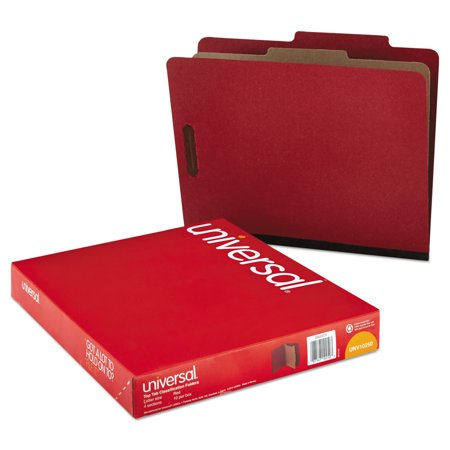 Universal Pressboard Classification Folder, Letter, Four-Section, Red, 10/Box -UNV10250