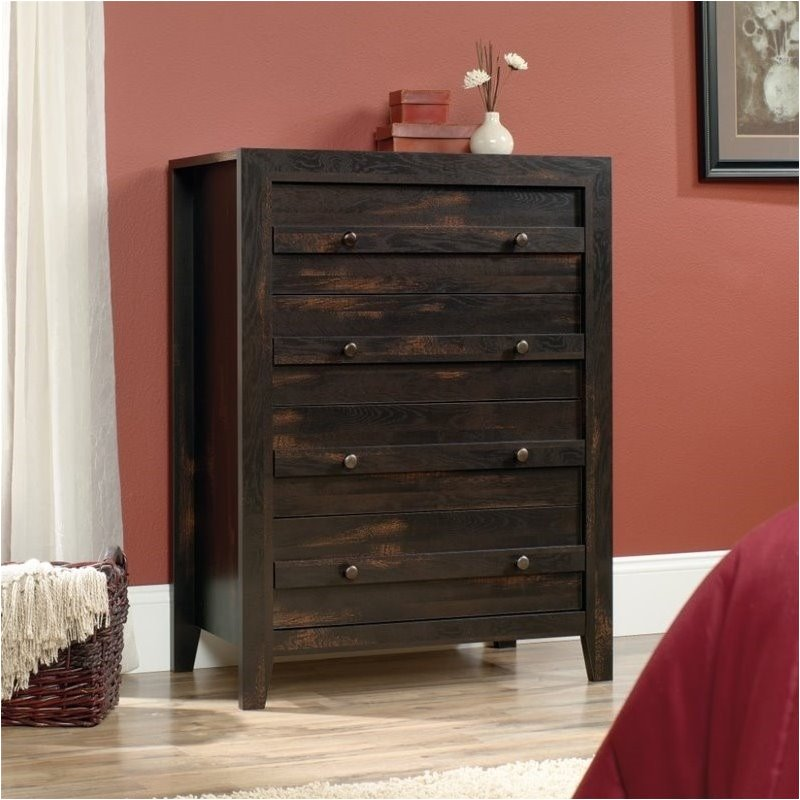 Pemberly Row 4 Drawer Chest in Char Pine