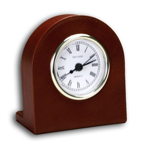 Dacasso 1000 Series Classic Leather Clock with Gold Insert in Mocha