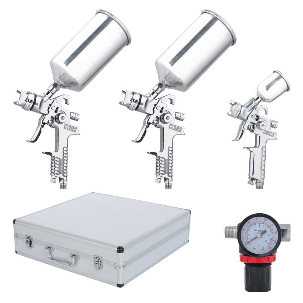 Yescom HVLP Stainless Air Spray Gun Set 1.0mm 1.4mm 1.8mm Nozzle for Auto Paint Car Primer Detail Basecoat with Case