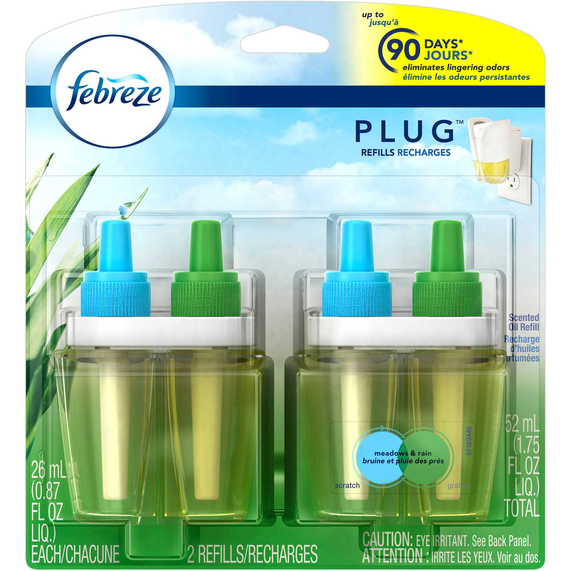 Febreze NOTICEables Meadows & Rain Air Freshener Refill, 2 Count