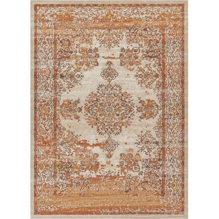 Lyon Yellow Orange Red & Ivory Vintage Medallion Short Pile Kilim Style Modern 2x3 (2' x 3') Area Rug Antique Weathered Oriental Multi Color