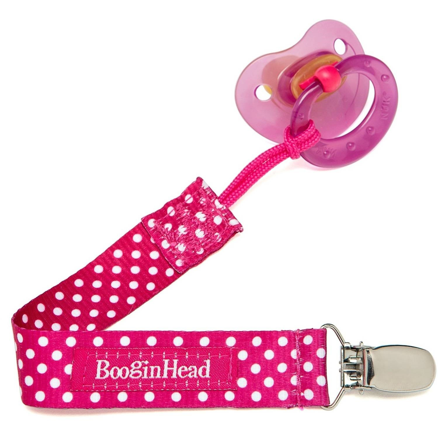 BooginHead PaciGrip Pink Polka Dot Pacifier Clip - 1 Count