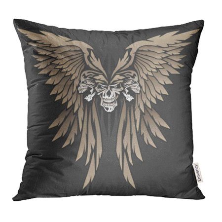 USART Biker Winged Skulls in Butterfly Style Shape Evil Mean Motorcycle Aggressive Black Pillow Case Pillow Cover 20x20 inch Throw Pillow Covers](Skull Shapes)