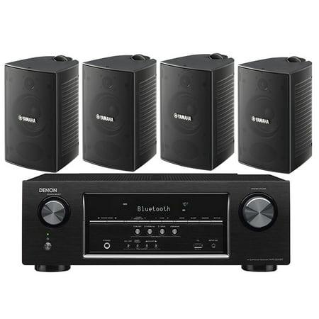 Denon 5.2 Channel 700-Watt Full 4K Ultra HD Bluetooth AV Home Theater Receiver + Yamaha High-Performance Natural Surround Sound 2-Way Indoor/Outdoor Weatherproof Speaker System (Set Of 4) ()