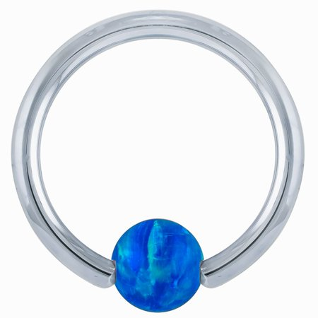 Opal 14kt White Gold Captive Bead Ring](Purple On Mood Ring)