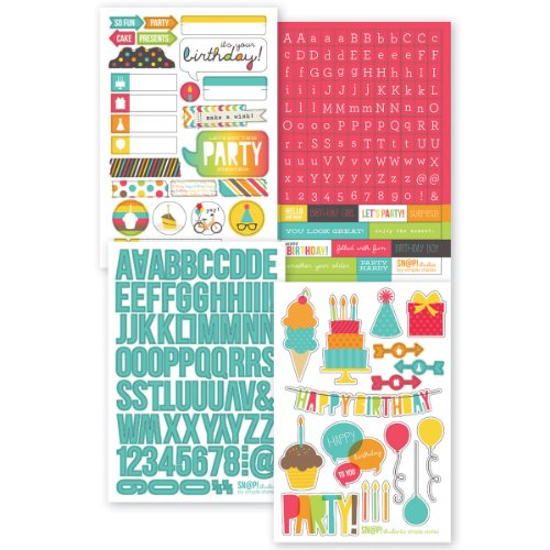Simple Stories Snatp! Stickers Sheets, 4 by 6-Inch, Birthday, 4-Pack Multi-Colored
