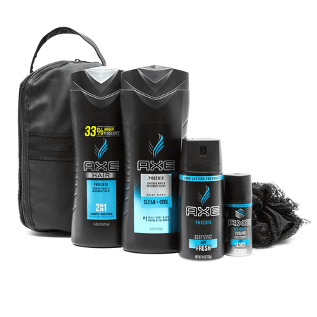($22 Value) AXE 5-pc Phoenix Holiday Gift Set (Shampoo, Bodywash, Body Spray with Bonus Pouf)