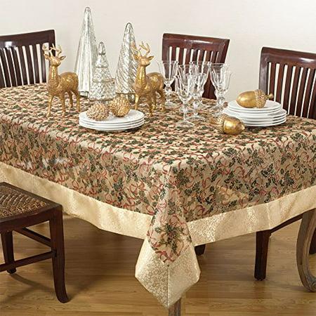 Ribbon Tablecloth (Holly Ribbon Holiday Christmas Sheer Tablecloth W/ Gold Satin Border And Tassels (54 Inch Square) )