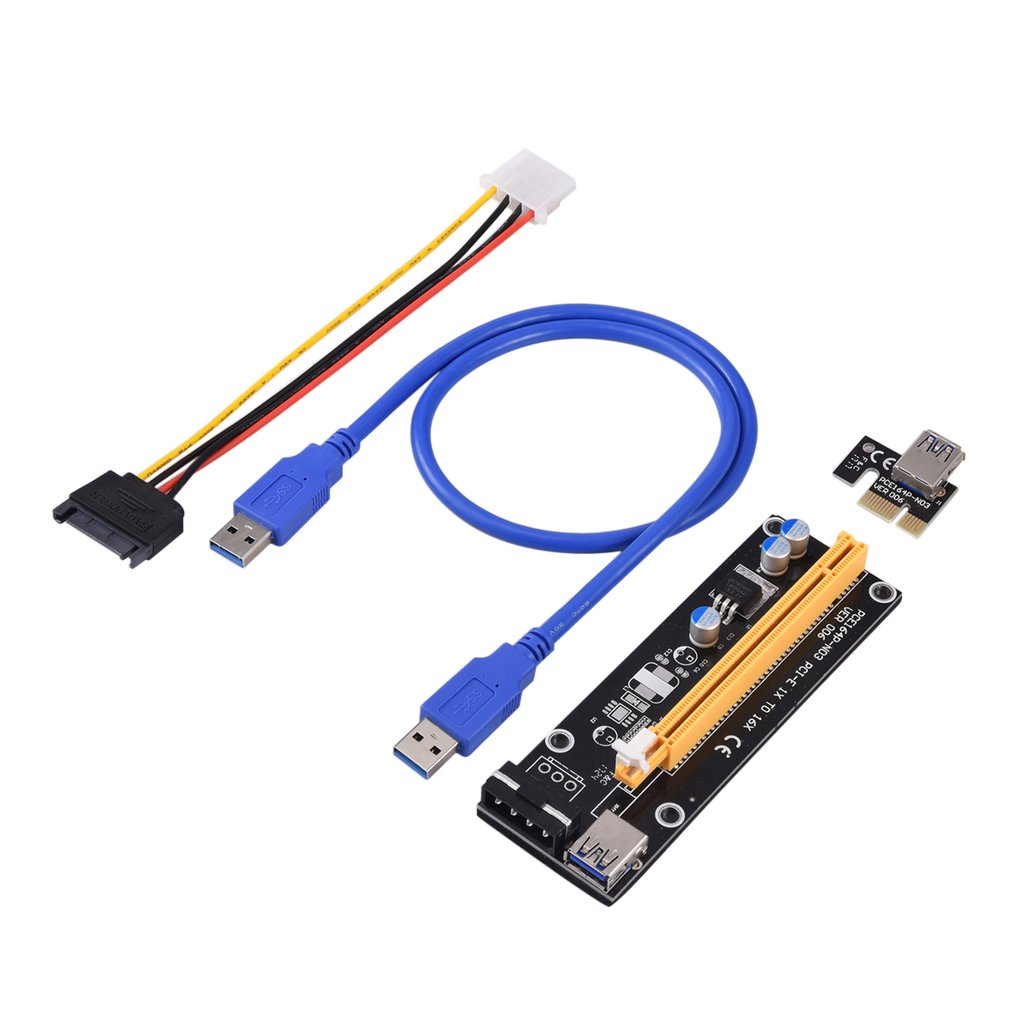 2018 New PCI-Express PCI-E 16X Extender Riser Karte USB 3.0 SATA 15P-4Pin Adapter Slots with fixed card buckle Portable On Sale