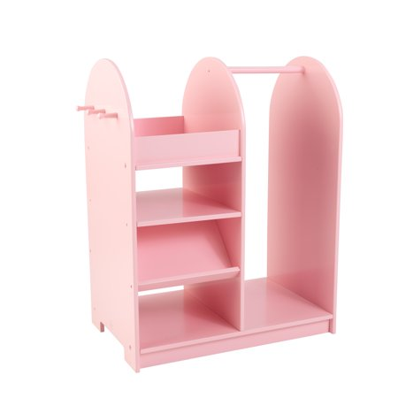 KidKraft Wooden Fashion Pretend Dress-Up Station Children's Furniture with Storage and Mirror - Pink - Drees Up