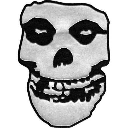 MISFITS Silver Pleather Skull, Original Products Classic Rock Artwork, Iron-On / Sew-On, 9' x 10' Embroidered PATCH - Mommy Patch Products