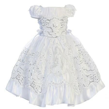 Angels Garment Baby Girls White Satin Embroidered Baptism Dress 18-24M