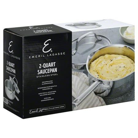 Upc 076753629553 Emeril Lagasse 2 Quart Stainless Steel Sauce Pan With Tempered Glass Lid Upcitemdb Com