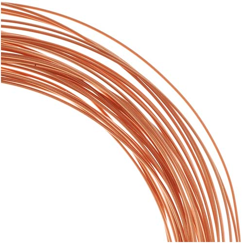 BeadSmith Non-Tarnish Copper Half Round Craft Bead Wire 21Ga (21Ft)
