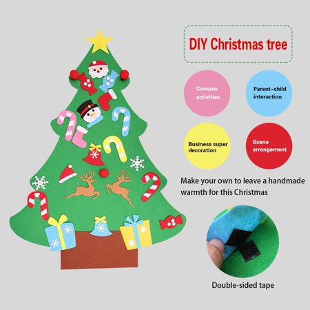 Tuscom Diy Felt Christmas Tree Set With Ornaments For Kids Xmas Gifts Door Wall Hanging