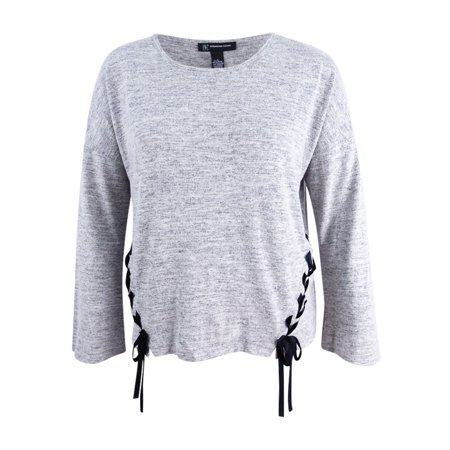 Mid Grey Heather (INC International Concepts Women's Laced-Side Top (L, Med Heather)