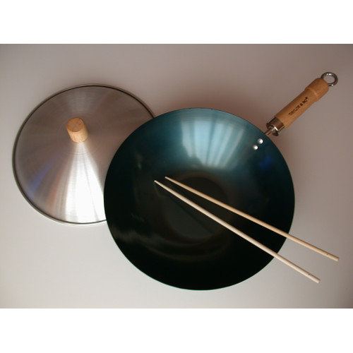 Taylor & Ng 3 Piece 12'' Preseasoned Flat Bottom Wok Set